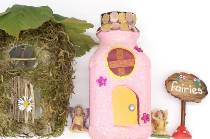 Milk carton fairy houses - beautiful fairy craft for indoor kids activities