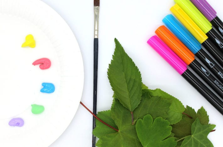 leaf printing - make rainbow leaf prints using paints or washable marker pens - a fun nature craft for kids