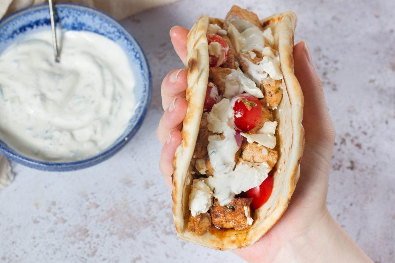 Greek chicken souvlaki pitas - Greek kebab wraps - best chicken kebab with tzatziki - greek souvlaki