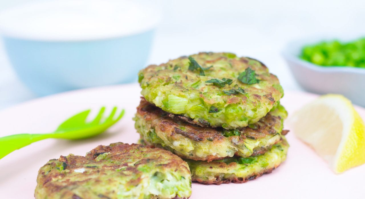 Green pea fritters - pea patties - healthy toddler meals