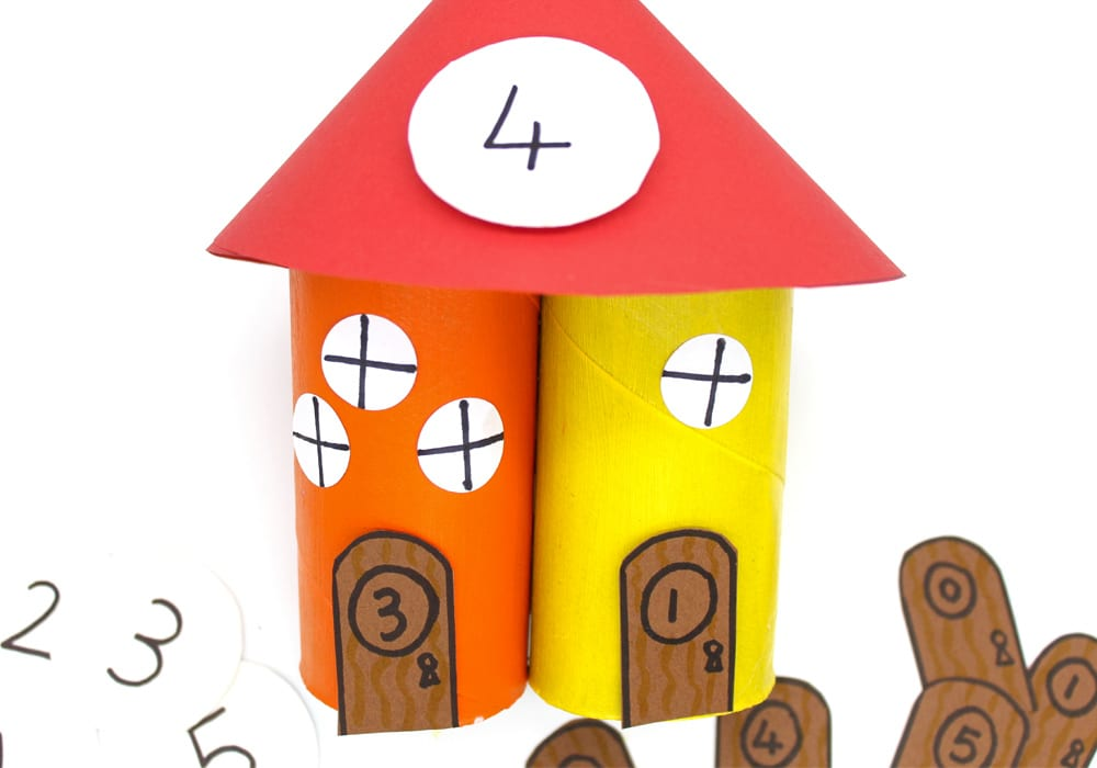 Number bond activity with gnome home towers - learn to add