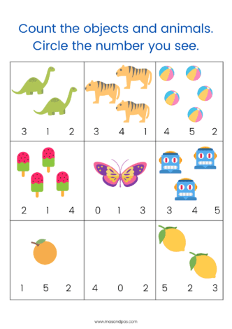 Count and write worksheets - learn first numbers with this activity pack for early years