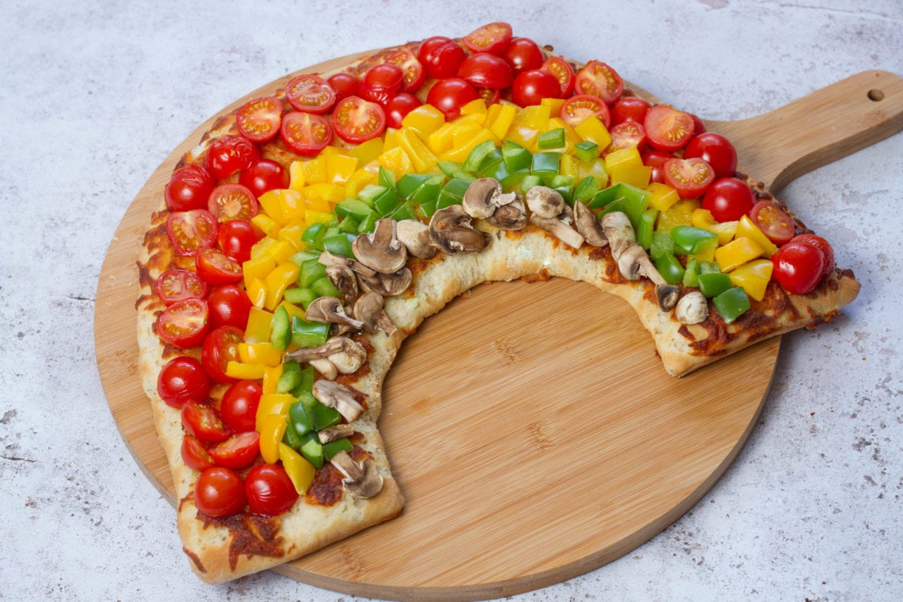 Rainbow pizza - healthy pizza recipe for kids full of vegetables