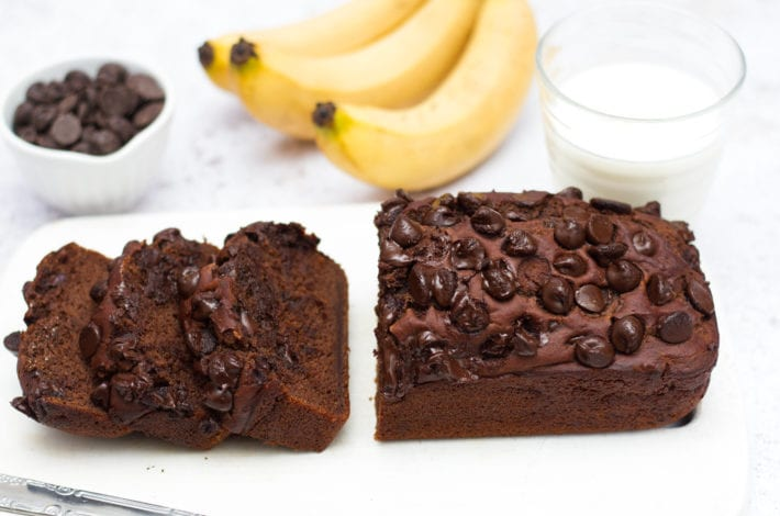 Secretly healthy chocolate banana bread - healthy double chocolate banana bread - healthier kids snacks