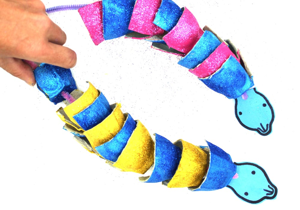 Make glittery egg carton snake craft - sea snake craft for kids