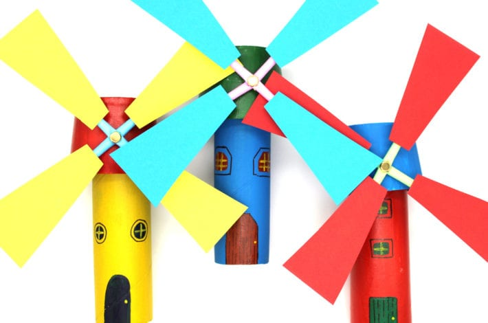 paper roll windmill craft - make windmills out of cardboard rolls with this fun kids craft