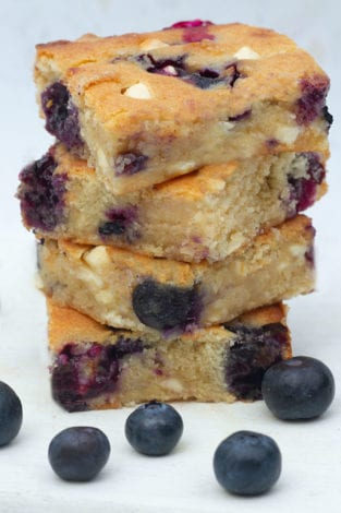 Blueberry Blondies - baking with kids - blueberry white chocolate cake