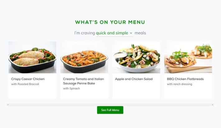 Home Chef Review - Menu option
