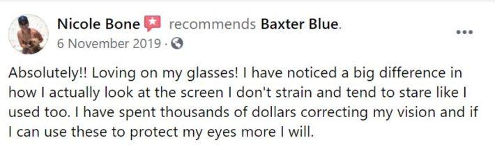 Baxter Blue Reviews Customer 1